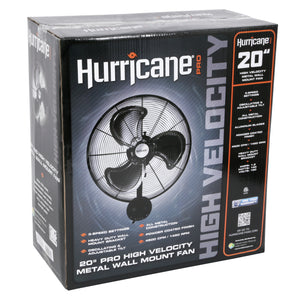 Hurricane: Pro High Velocity Oscillating Metal Wall Mount Fan 20 in - GrowDaddy