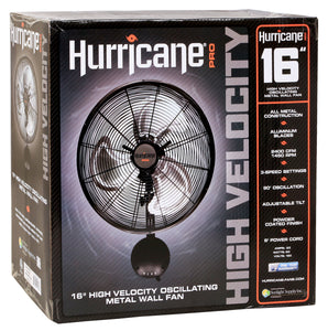 Hurricane: Pro High Velocity Oscillating Metal Wall Mount Fan 16 in - GrowDaddy