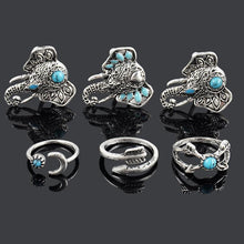 6 piece Moon and Elephant Vintage Stone Rings - Roots and Sticks