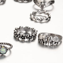 9 Piece Vintage Stone Ring Set - Roots and Sticks
