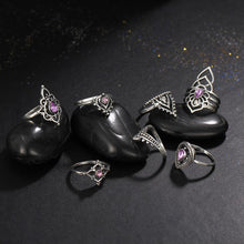 Tibetan Purple Flower Vintage Ring Set - Roots and Sticks