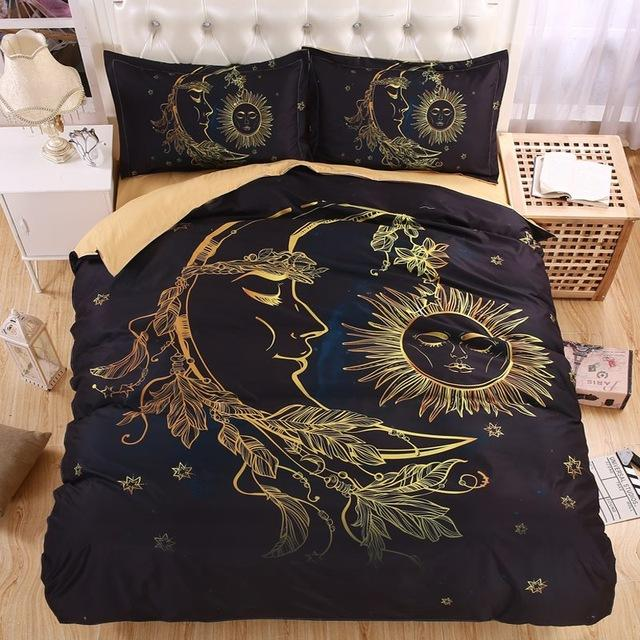 Lightweight BOHO Sun Moon and Stars Duvet Cover Set - Roots and Sticks