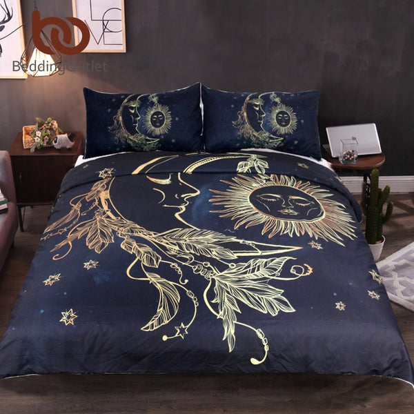 Lightweight Boho Sun Moon And Stars Duvet Cover Set