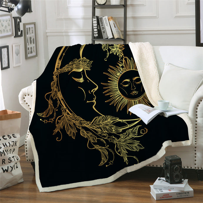 Boho Moon and Star Fleece Blanket