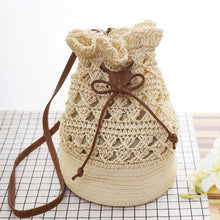 Grass Bucket Bag With Woven Straw Drawstring Bag