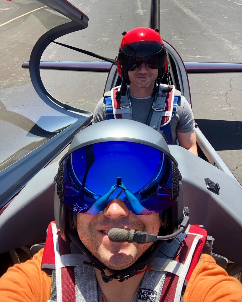 Mark Pollard and a student ready to head out for a training session both equipped with the AV-1 KOR Flight Helmet
