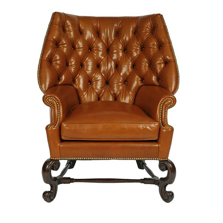 TUFTED CAROLEAN COWL WING CHAIR