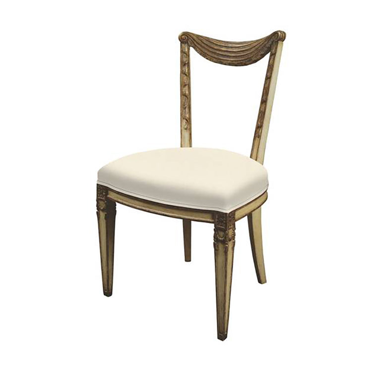 LOUIS XVI STYLE SWAG BACK SIDE CHAIR