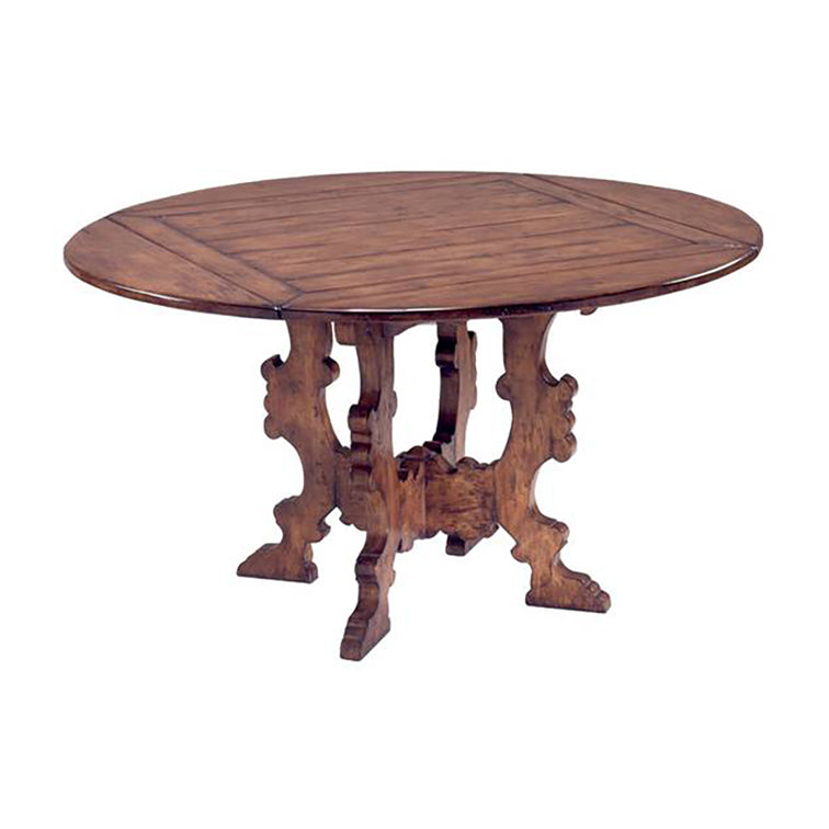 "SPANISH ""X"" TRESTLE BASE DINING TABLE (SQUARE TO ROUND)"