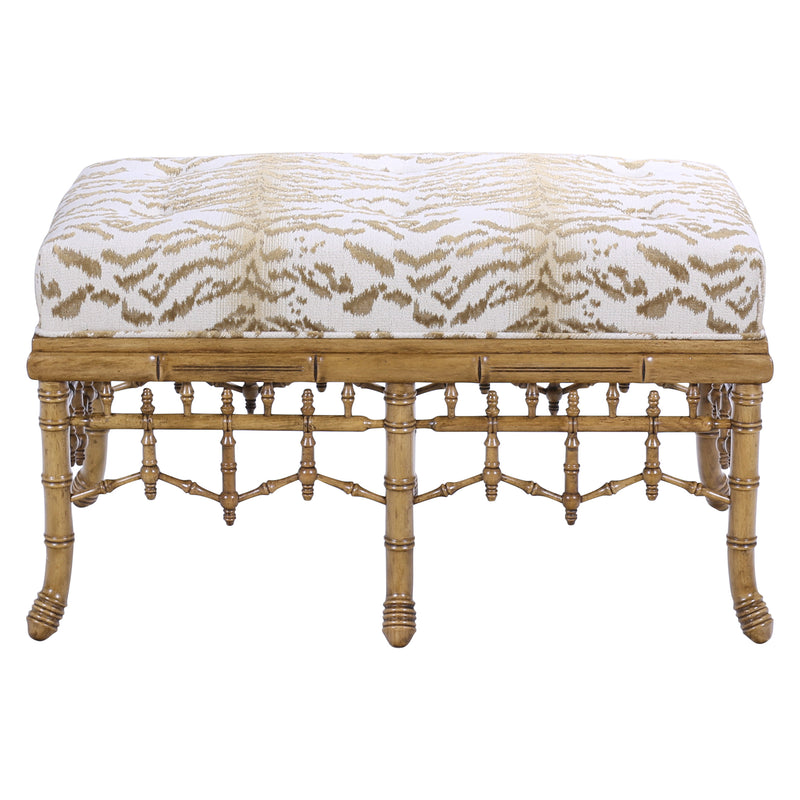 HAND CARVED FAUX BAMBOO BENCH