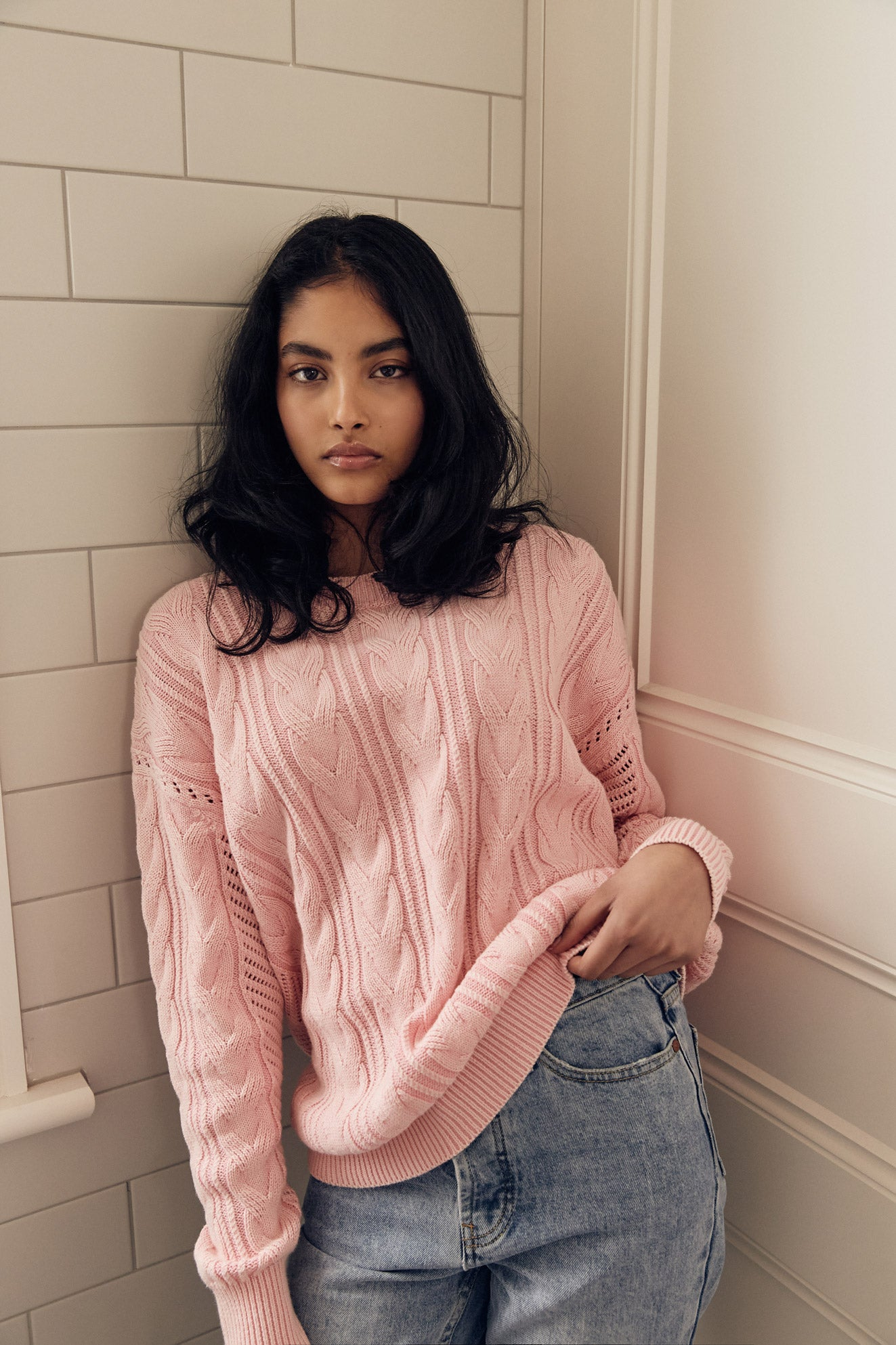 Kinney 100% cotton Mateo Knit in Pink - Autumn/Winter 2021 Women's Clothing brand - Also available in Indigo