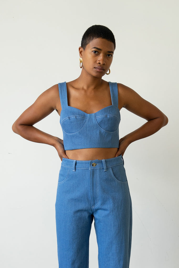 Bralette Top in French Blue Denim - Made To Order