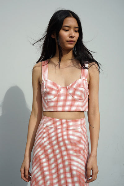 Bralette Top in Tomato Gingham