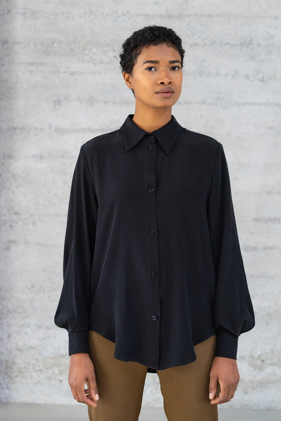 Button-Up Silk Blouse in Black