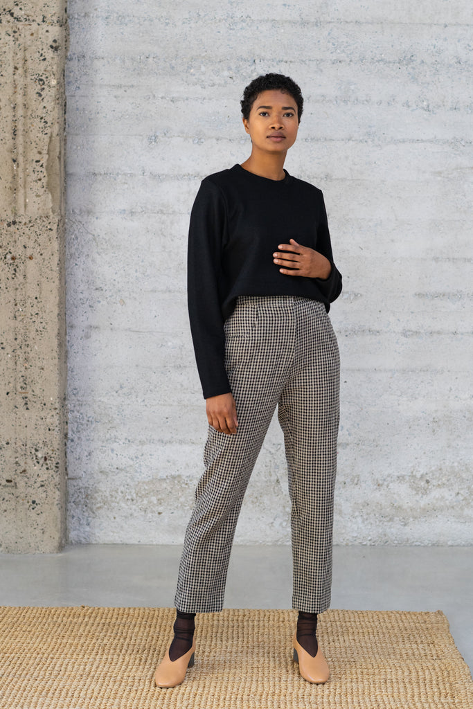 Cigarette Trousers in Checked Wool