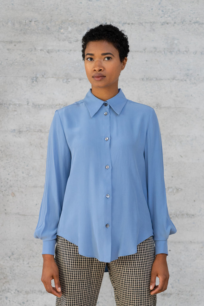 Button-Up Silk Blouse in Dusk Blue
