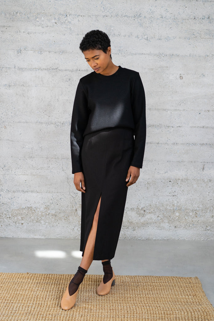 High-Waisted Long Skirt in Black Wool/Viscose Twill