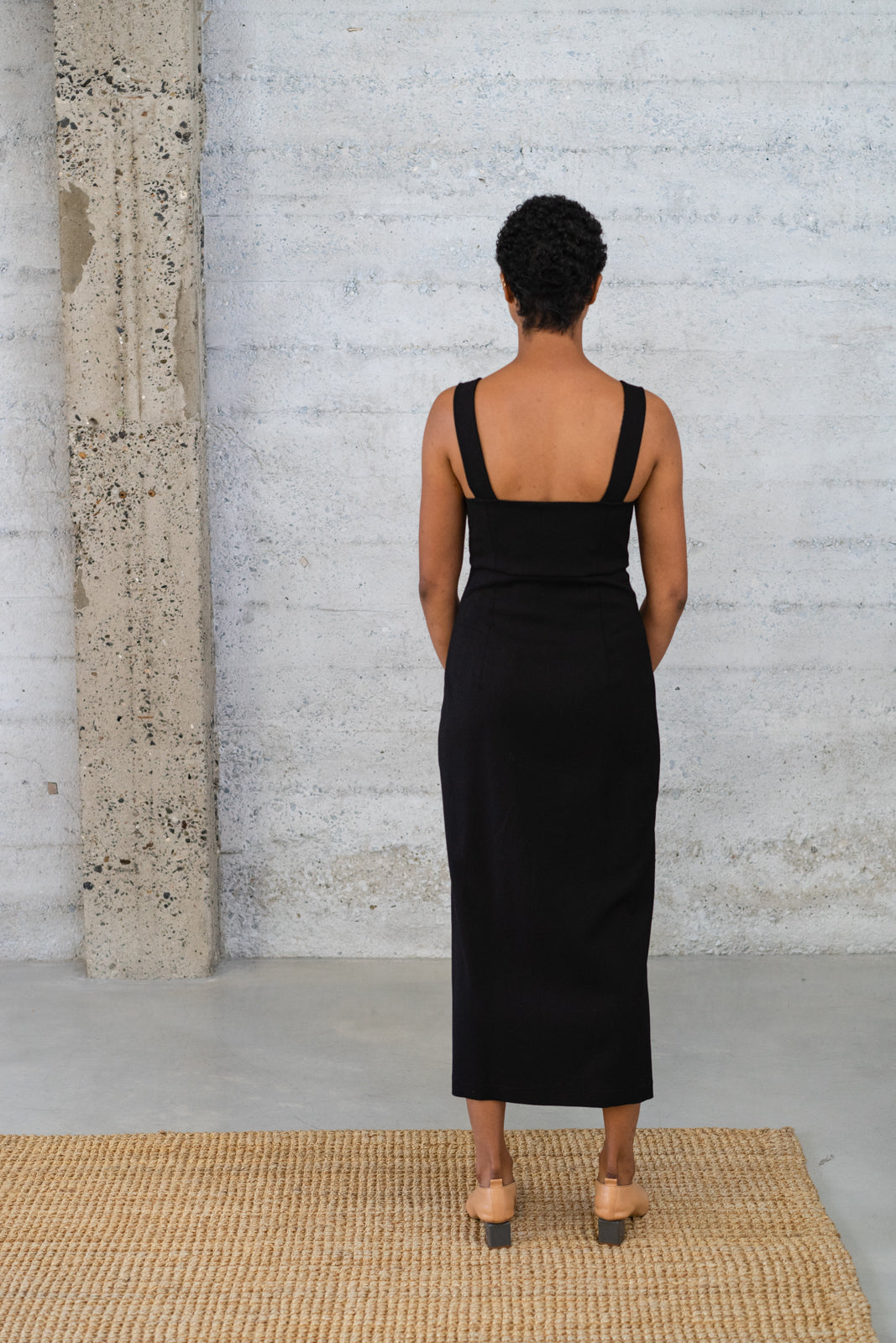 Bralette Dress in Black Wool/Viscose Twill