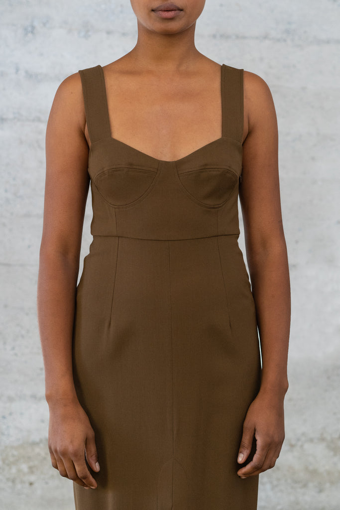 Bralette Dress in Bronze Wool/Viscose Twill