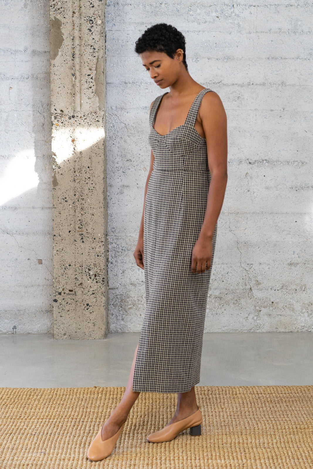 Bralette Dress in Checked Wool