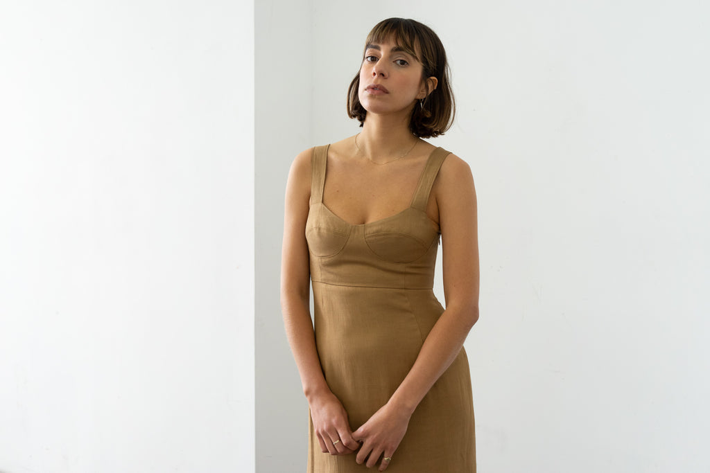 Bralette Dress in Caramel