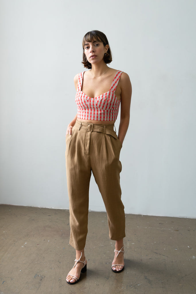 Belted Trouser in Caramel