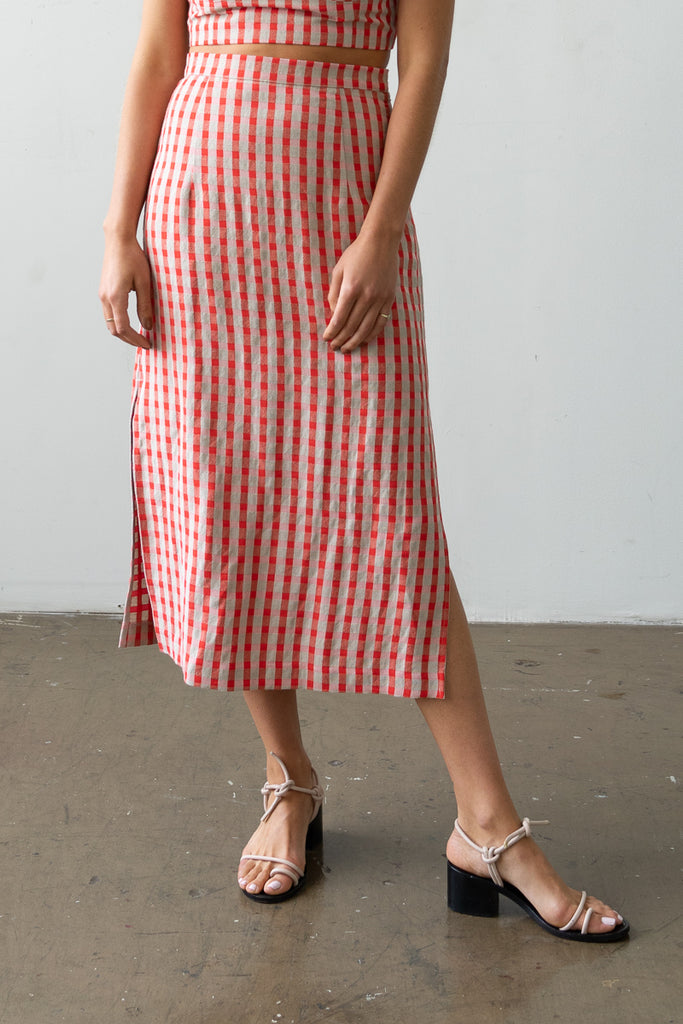 Long Skirt in Poppy Check