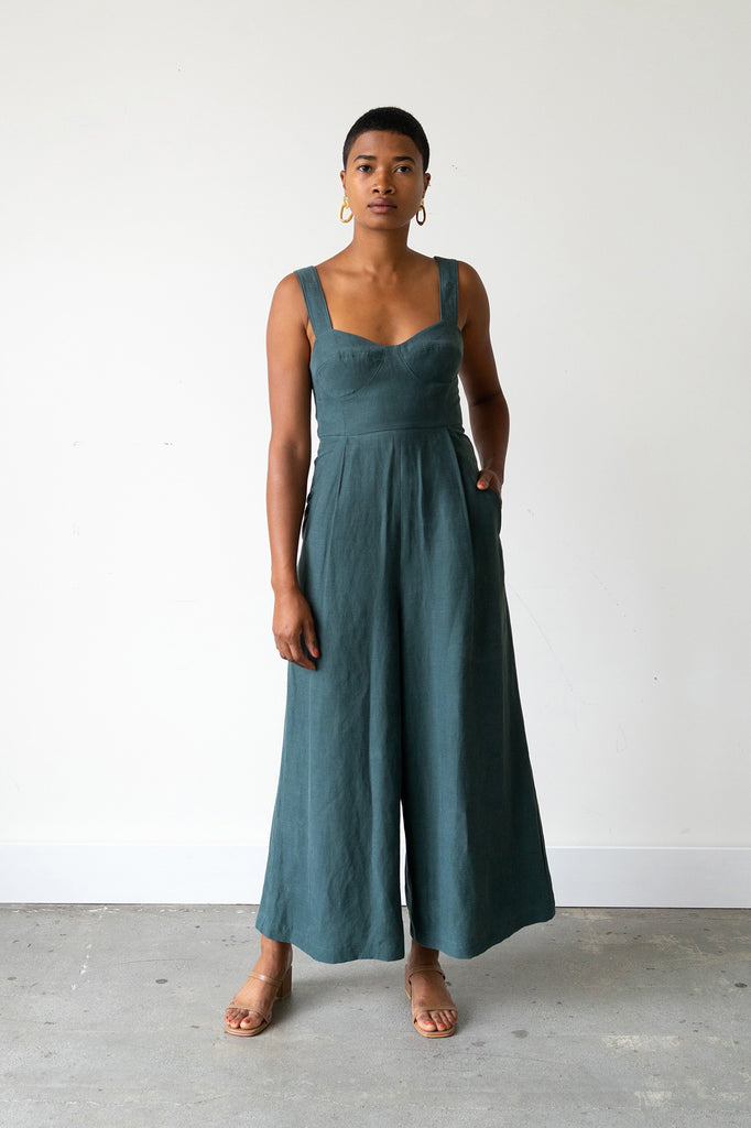 Bralette Jumpsuit in Spruce