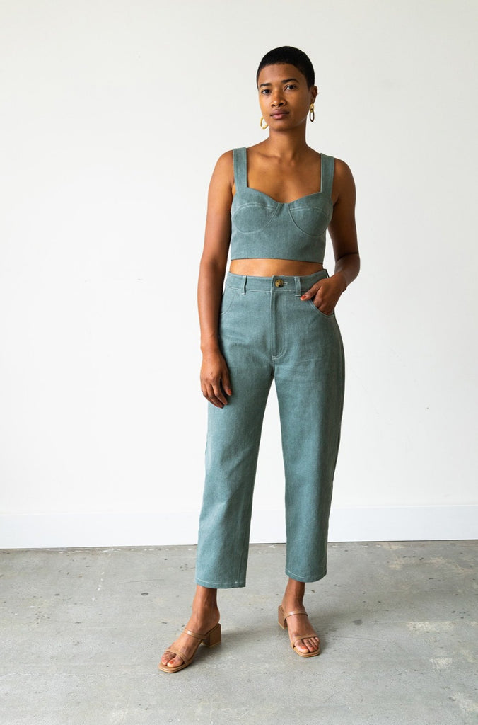 Carrot Jean in Sage Denim