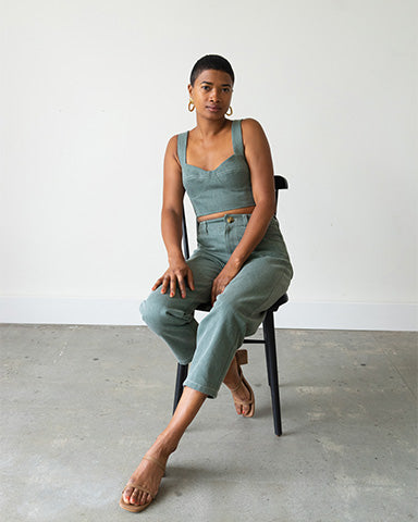 Bralette Top in Sage Denim - Made To Order