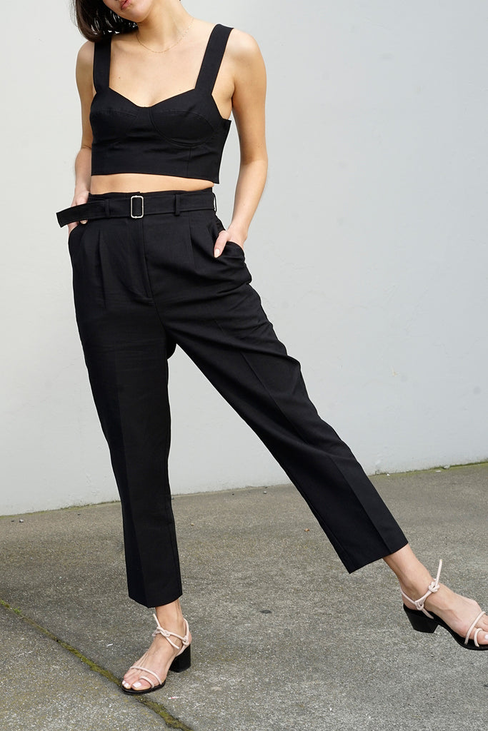 Belted Trouser in Black