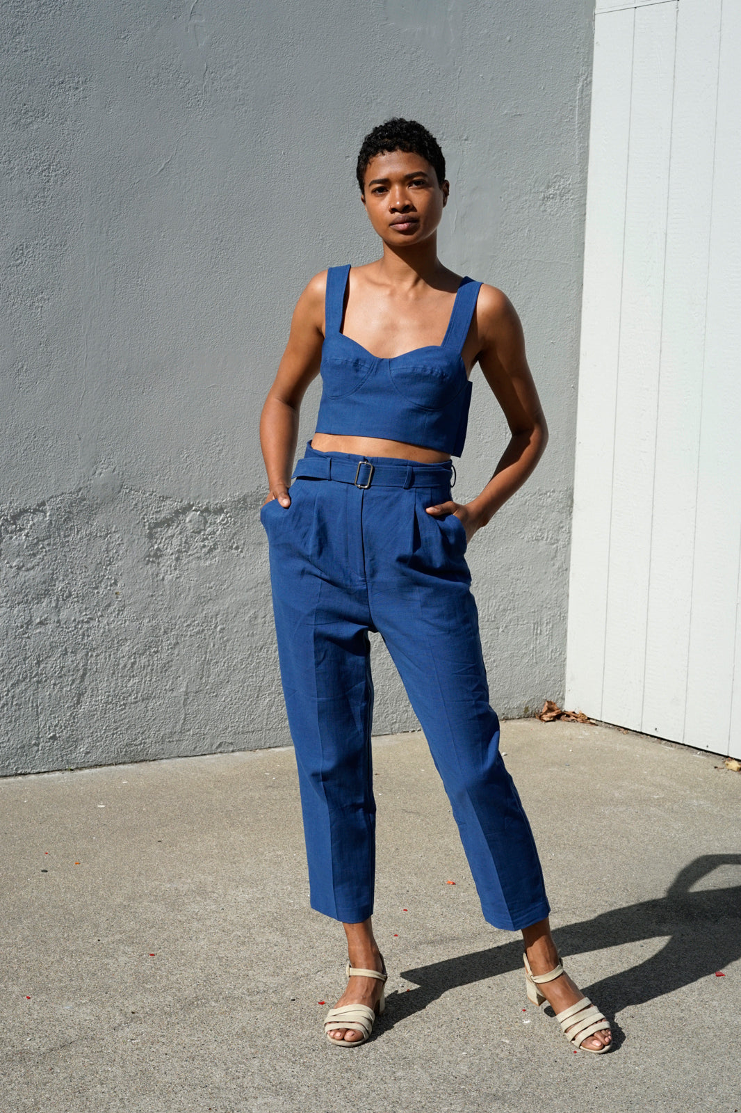 Belted Trouser in Blue Jean Baby