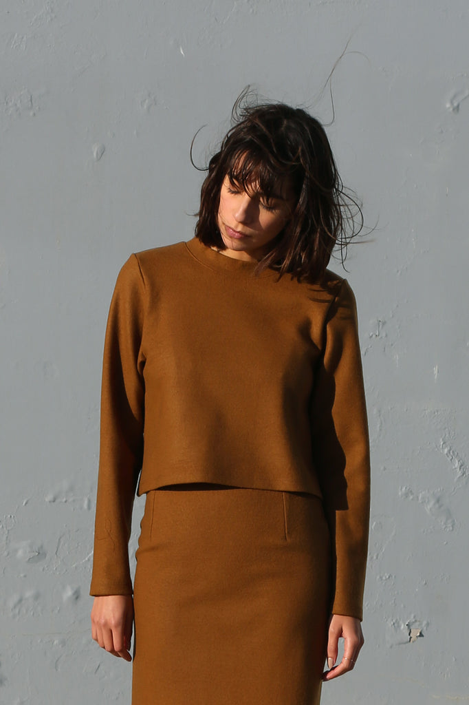 Wool Jersey Pullover in Camel
