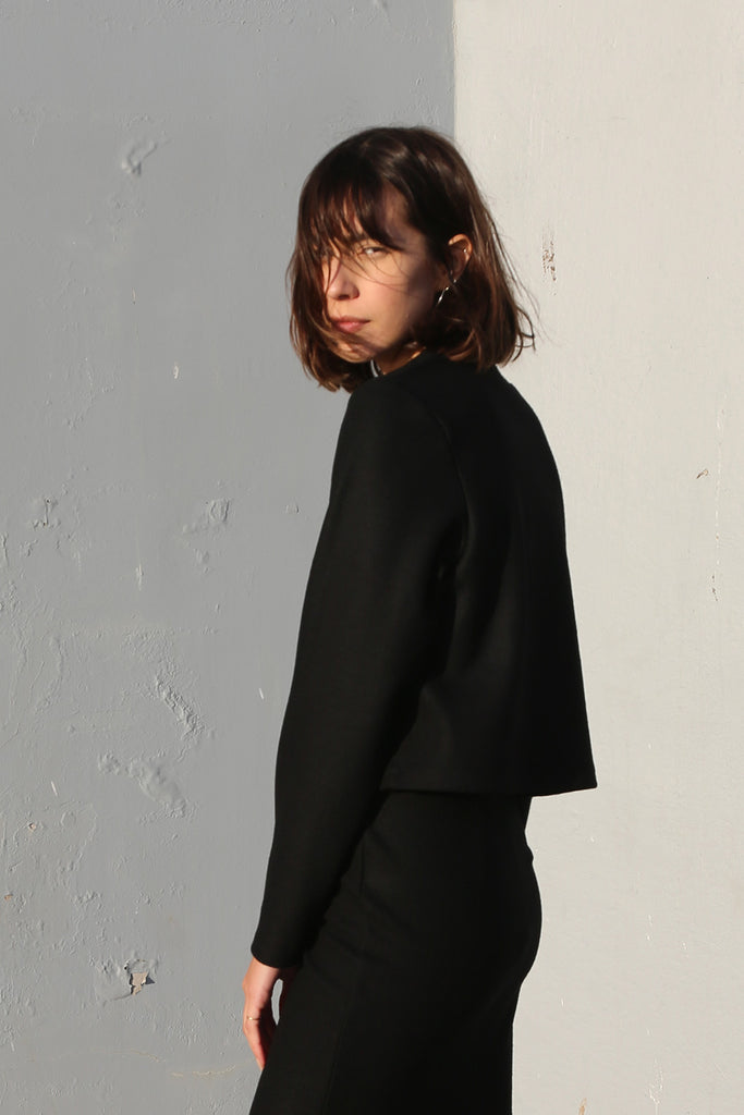 Wool Jersey Pullover in Black