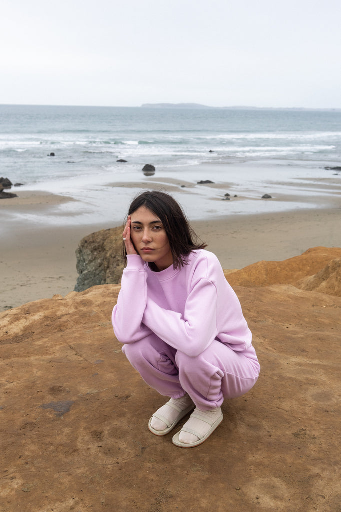 Cropped Sweatshirt in Pale Lilac