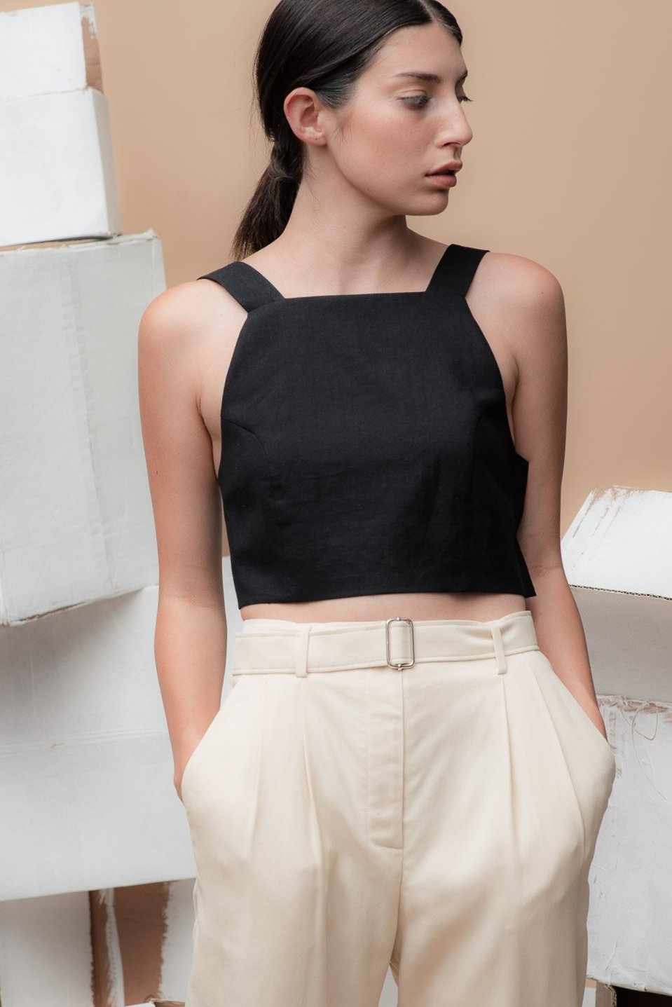 Apron Top in Black