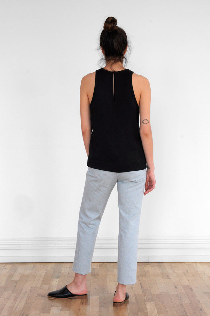 Racer Top in Black Piqué