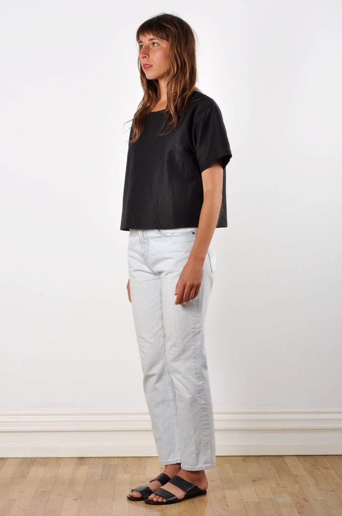 Drop Shoulder T-shirt in Black Linen/Cotton Twill