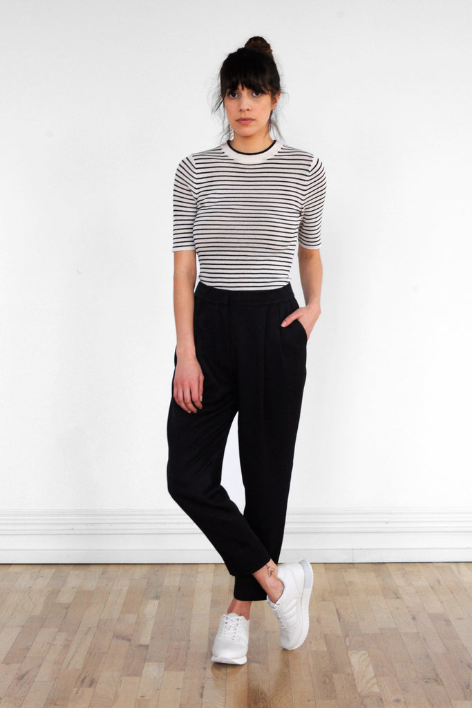 Double Pleat Trouser in Black