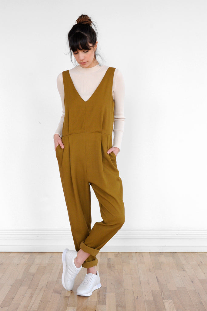 Double Pleat Jumpsuit in Golden Olive