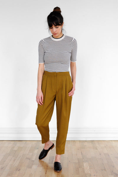 Double Pleat Trousers in Golden Olive