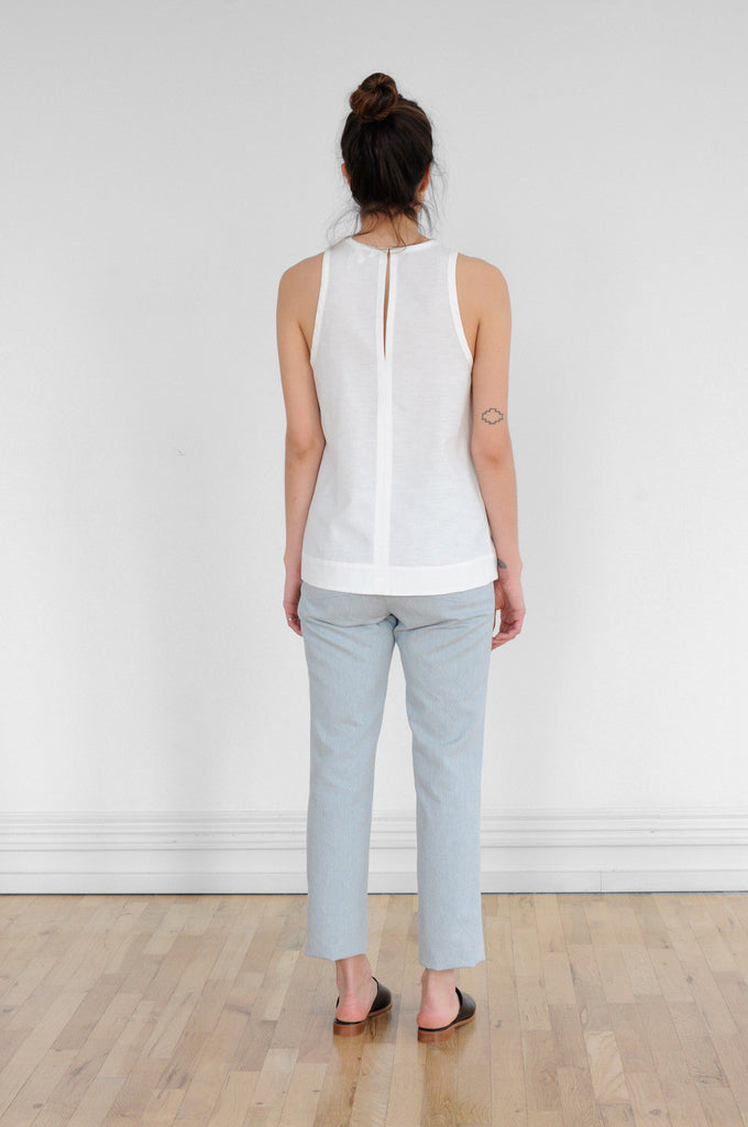 Sleeveless Racer Top in Ivory