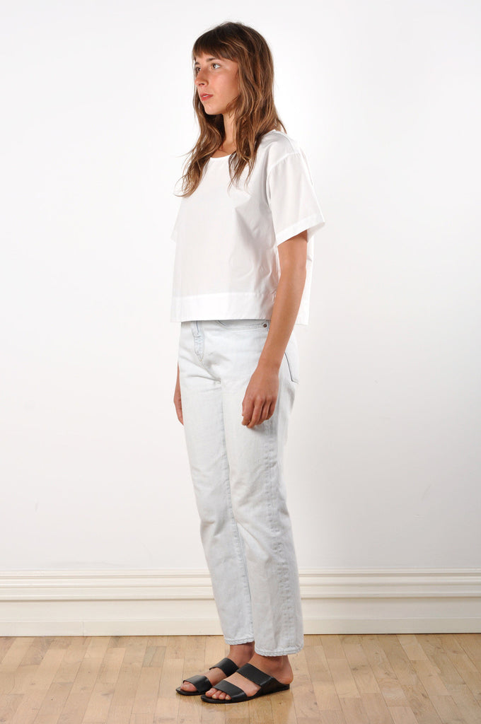 Drop Shoulder T-shirt in White Cotton Poplin