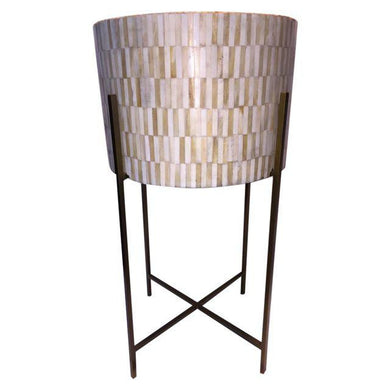 Round Inlaid  Bone/Brass Drum Table*