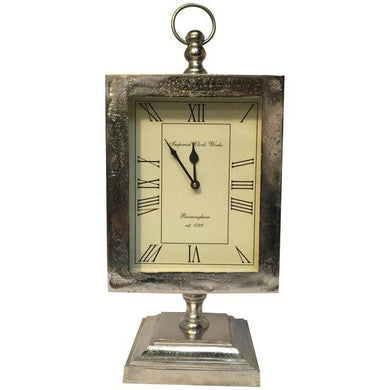 Large Silver Mantle Clock