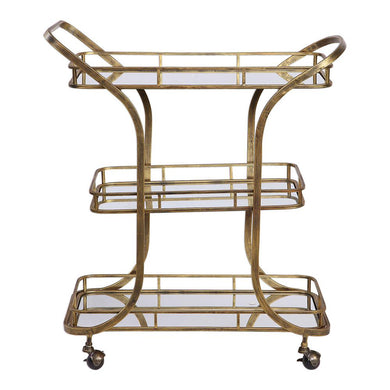 Antique Brass Iron Bar Cart