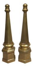 Brass Obelisk with Hexagon Base - A Pair