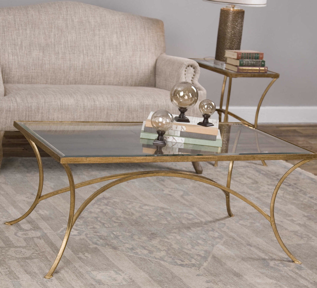 Iron Finish Antique Gold Leaf Coffee Table