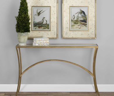 Iron Finish Antique Gold Leaf Console