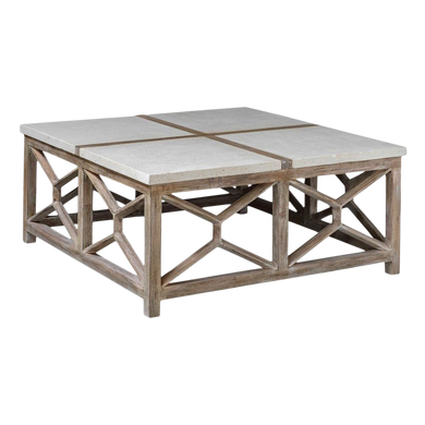 Large Limestone Top Cocktail Table